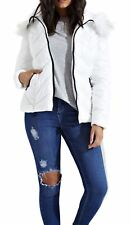 Womens Chevron Stitch Long Sleeve Puffer Padded Faux Fur Hooded Jacket Coat White 8