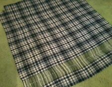 "Black & White Plaid Wool Fabric with Fringe, 80% Wool, 57"" x 67"""