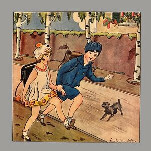 1930er Antiker Druck Kinderbuch Bild Alt 16cm Art Deco Mode Mädchen Junge Kleid