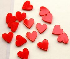 15 Mini Hearts  Red Perspex Acrylic - Perfect for Crafting or Decoration
