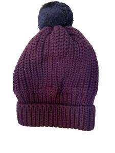 New Baby Gap Knit Purple Pom Pom Hat Size 6-12 M