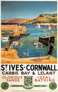 TX471 Vintage St Ives Cornwall Travel Poster GWR Railway Print A2/A3/A4