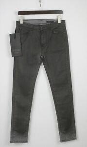 RRP €105 DANIELE ALESSANDRINI DENIM NOIR Men W31 Coated Worn Look Jeans 5772 mm