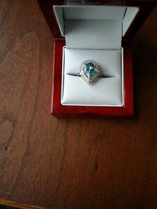 14kt White gold Resizeable 7.5 Ring.  Ceara Santa Maria Aquamarine, Vs Diamonds
