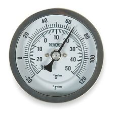 """Bi-Metal Analog Dial Thermometer, 3"""" Dial, 20 to 160 F (1NFY2)"""