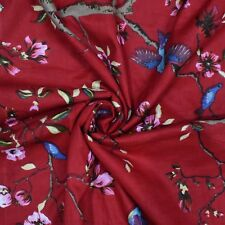 Cotton Cambric Red Fabric 43� Wd Bird Print Making Dress Craft By Yd