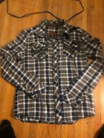 Rock Revival Men's Plaid Embroidered Long Sleeve Flannel Shirt Sz Medium