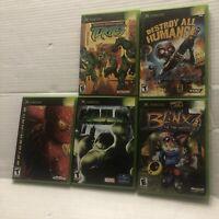 Orig Xbox CIB Lot Brinx TMNT Spiderman Hulk Destroy All Humans Case Manual Works