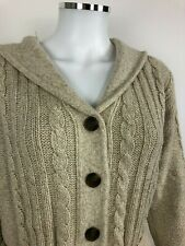 Vintage ROOTS Womens Sweater Cardigan Button Lambswool Hood Size M