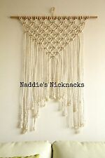 Modern Macrame Wall Hanging Natural Cotton Rope & Timber 80cmx100cm Able to post