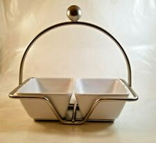 PAMPERED CHEF Simple Additions Silver Tone Caddy and 2 White Serving Bowls