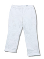 New $100 value INC Size 14 White Boyfriend Regular Fit Jeans w/Eyelet Embroidery