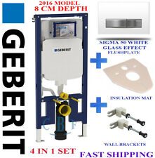 Geberit UP720 8CM TOILET FRAME + SIGMA WHITE GLASS EFFECT plate + wall brackets
