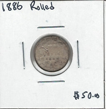 Canada 1886 Silver 10 Cents Rolled Rim
