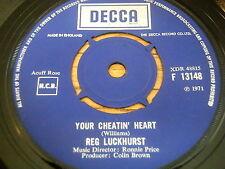 """REG LUCKHURST - YOUR CHEATIN' HEART     7"""" VINYL"""