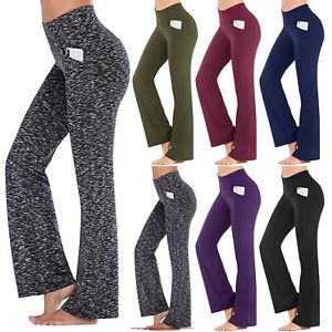 Women High Waist Foldover Yoga Pants Bootcut Flare Wide Leg Leggings Fitness Gym