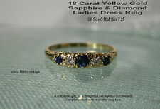 18ct Gold Sapphires & Diamond Ring Yellow Gold. What a Darling Ring! UK O