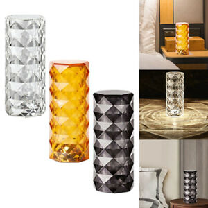Crystal Table Lamp Touch Control Bedside Light USB Rechargeable for Dresser