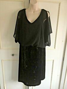 ROMAN - black crushed velvet and chiffon evening/party dress - Size 16