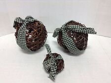 3 Rustic Round grapevine Balls Home Decor Crafts Gingham primitive country
