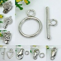 925 Sterling Silver Round Toggle Lobster Clasps Bolt Hook Ring Findings Keychain