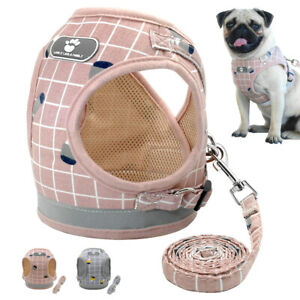 Mesh Padded Pet Dog Harness and Leash Reflective Dog Vest for Poodle Beagle Pug