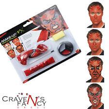 Devil Make Up Kit Halloween FX Face Paint & Horns Fancy Dress Accessory Aqua