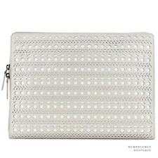 Alaia Pale Grey White Perforated Leather Pochette / Clutch / Document Holder