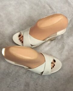 Michael Kors Espadrille White Patent Leather Wedge Platform Heel Sandal 7.5 M