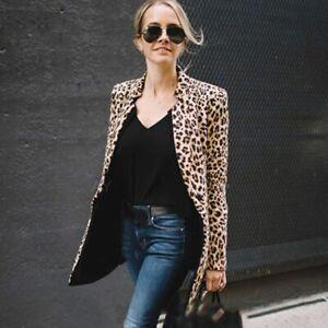 Ladies Leopard Print Blazer Women Plus Size Long Sleeve Coat Top Notched Collar