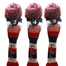 USA Majek Golf #3 4 5 Hybrid Headcovers Pom Pom Knit Classic Vintage Look
