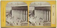 Parigi Istantanea La Bourse Foto Stereo Vintage Albumina c1865