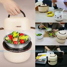 UKPLUG Electric Portable 1.3L Lunch Mini Rice Cooker Stainless Steel Steamer #A1