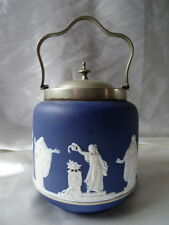 Antique Round Wedgwood Ceramic Biscuit Barrel EPNS Lidded & Carry Handle
