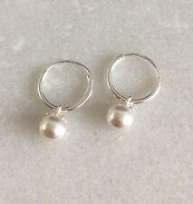 925 Sterling Silver Drop Dangle Pearl White Small Hinged Hoop Sleeper Earrings