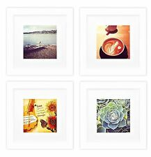 Smartphone Frames Collection, Set of 4, 6x6-inch Square Photo Wood Frames, White