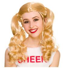 Adult CHEERLEADER Wig High School Musical School Girl Blonde USA Fancy Dress WIG