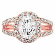 2.04 Oval Cut Halo Statement Engagement Wedding Bridal Ring Solid 14k Rose Gold