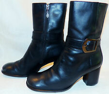 Harley Davidson Sexy Black Leather Ankle Belted Buckstitched Boots #81551 6 B