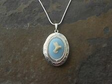 CAMEO LOCKET NECKLACE!! HUMMINGBIRD- CREAM/BLUE-.925 SILVER PLATED!! QUALITY