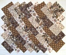 """BROWN, TAN & TAUPE 4"""" Squares 100% cotton Quilt Block Quilting Fabric (#E/102B)"""