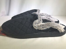 Dearfoams Womens Black Extended Tab M(7/8) L(9/10) Clog Slip-On Quilted Slippers