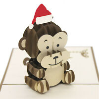 Christmas 3D Pop Up Baby Monkey Christmas Card UK Seller