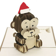 Christmas 3D Pop Up Baby Monkey Christmas Card UK Seller