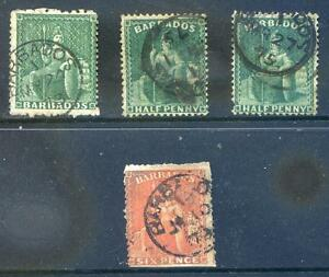 Barbados 1871 6d & 3 1874 all used, S.G. 50 & 65 mixed condition (2016/06/20#03)