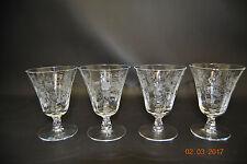 "Fostoria Etched Crystal 6037 Heather 4 Oyster / Fruit Cocktail Glasses Goblet 4"""