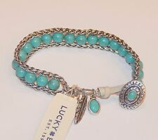 Genuine Lucky Brand Silver Tone Turquoise Accent Bracelet, NWT