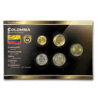 COLOMBIA 5 COINS FULL SET: 50, 100, 200, 500, 1000 COLOMBIAN PESOS 2012-2013 UNC