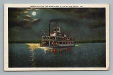 Moonlight Mississippi Night Boat Baton Rouge LA Louisiana Postcard