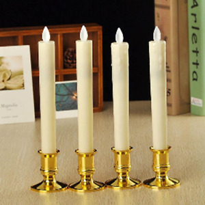 White Taper LED Battery Stick Candle Outdoor Event Wedding Table Room Gold Base